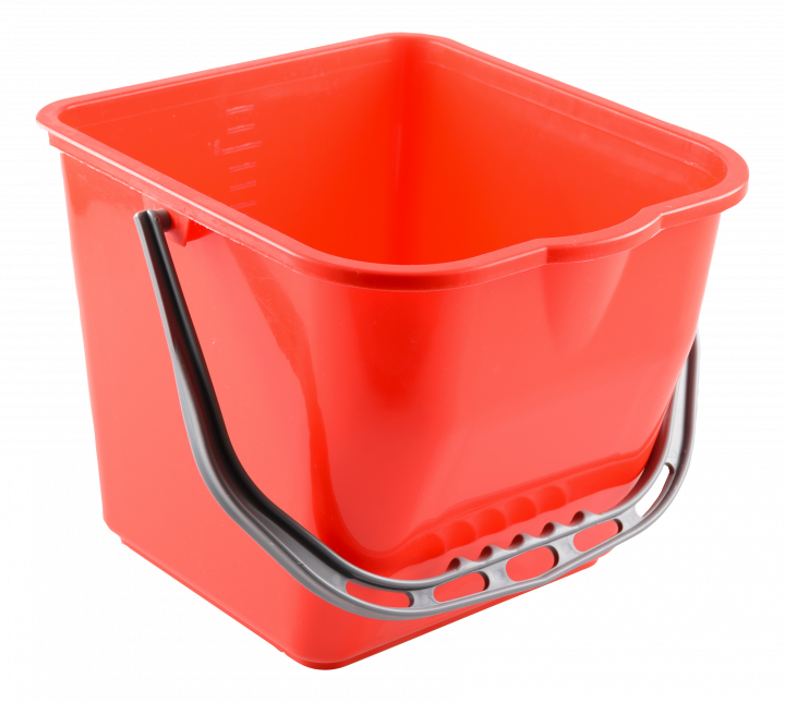 Plastic bucket with spout, red