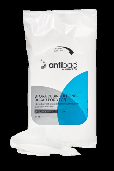 Antibac Stora Ytdesinfektionsdukar med tensid