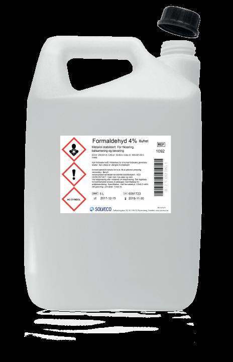 Formaldehyd 4% bufret/formalin ca. 10%  5 liter